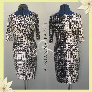 Adrianna Papell Black and White Mixed Print Dress